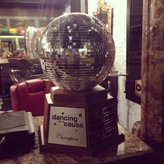 The mirrorball trophy looking so fabulous in its new home!
